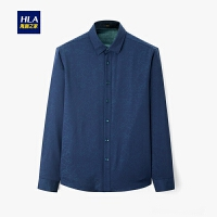 HLA/海澜之家休闲花纹长袖衬衫2019冬季新品保暖加绒长衬男