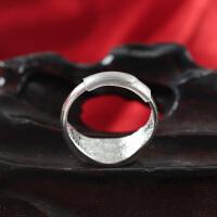 原创牡丹花999纯银戒指女 复古手工开口可调节中老年人送妈妈婆婆