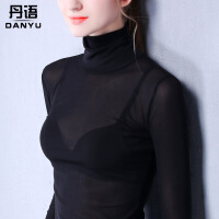 高领打底衫女长袖网纱体恤透明性感纱衣 薄款沙T恤透视蕾丝小衫秋 黑色