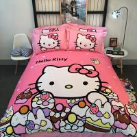卡通儿童棉kt凯蒂猫公主风磨毛三四件套网红床笠床上用品女 粉红色 淘气kt-粉