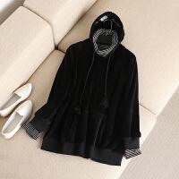 大码女装冬装新款双面绒加厚字母刺绣连帽长袖卫衣假两件上衣