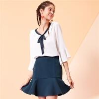 拉夏贝尔小心机套装女7m新款雪纺上衣纯色a字半身裙两件套