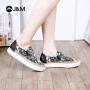 【低价秒杀】jm快乐玛丽春季设计师涂鸦个性休闲松糕女士套脚乐福鞋