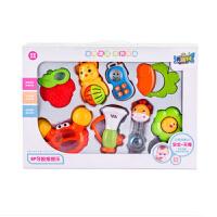 婴儿满月玩具磨牙益智婴儿硅胶可水煮牙胶摇铃礼盒