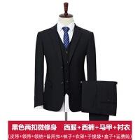 西服套装男士三件套中年大码商务正装职业西装上班新郎结婚礼服春