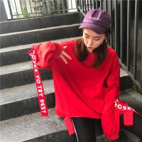 社会女hiphop卫衣韩版BF青春爵士舞蹈服装街舞嘻哈飘带上衣学生秋