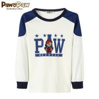 【3件3折 到手价:107】Pawinpaw卡通小熊童装春夏款男童拼色上衣中大童长袖T恤棉