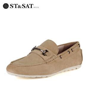 星期六(ST&SAT) 牛反绒平跟圆头休闲单鞋SS61126663