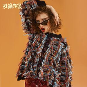 【尾品汇大促】妖精的口袋Y彩纱长袖毛衣女潮秋冬装2018新款短款套头时尚针织衫