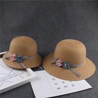 儿童草帽夏天女童沙滩帽遮阳帽宝宝太阳帽度假母女