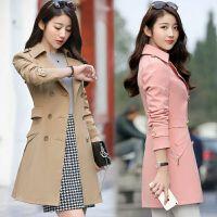 风衣女中长款韩版春季 新款修身显瘦百搭纯色收腰外套