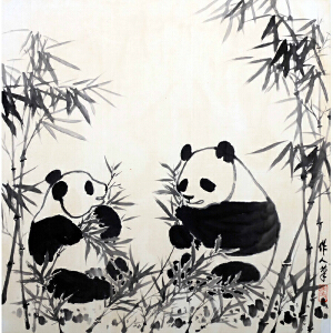 L84吴作人双熊猫