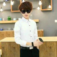 春季男士长袖白色衬衫经典纯色商务职业装正装修身免烫衬衣男