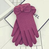 手套女冬韩版可爱触屏开车骑车学生加绒加厚保暖布艺五指分指手套