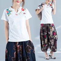 中国风夏新款民族风百搭上衣V领立领刺绣短袖t恤女大码打底衫