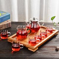 水果花茶壶不绣钢过滤红茶泡茶器飘逸杯整套玻璃茶具套装