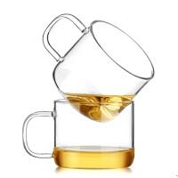 6只装耐热玻璃直管把杯茶杯小品杯带把手小茶碗品茗杯小杯子水杯100ml单杯小茶杯