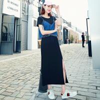 韩都衣舍2017韩版女装夏新款套装裙长裙吊带两件套连衣裙