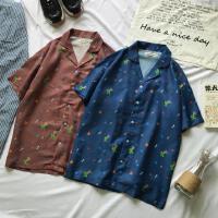 夏季男士短袖衬衫男装沙滩复古古着半袖薄款青年印花休闲衬衣男潮