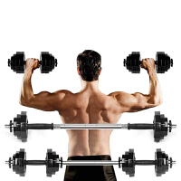 哑铃男士包胶电镀杠铃20kg15 30套装家庭家用健身器材练臂肌