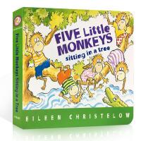 英文原版 Five Little Monkeys Sitting in a Tree 五只小猴 纸板书 廖彩杏张湘君推