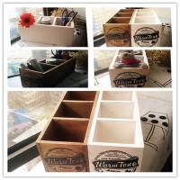 复古木盒 做旧文具笔筒 桌面收纳盒分格英文小盒