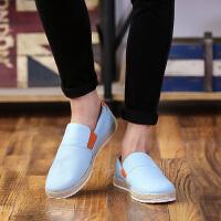 DAZED CONFUSED2017夏季男士帆布鞋豆豆鞋男一脚蹬懒人鞋透气休闲韩版潮鞋