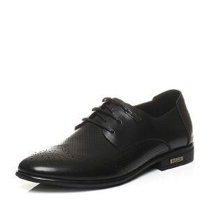 Belle/百丽夏季专柜同款牛皮布洛克鞋商务男皮鞋4KN01BM6