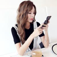 韩都衣舍2017韩版女装夏装新款圆领宽松两件套短袖蕾丝衫