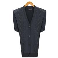 中老年人男士V领开衫毛衣加绒加厚针织中年爸爸装季打底羊毛衫 深