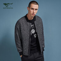 七匹狼旗下圣沃斯夹克男装2017秋季新款羊毛茄克青年男士休闲外套