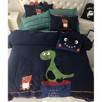 秋冬全棉拉绒磨毛四件套儿童卡通恐龙1.2米床男孩三件套被套床品 小恐龙【2月4日前拍送同款抱枕】