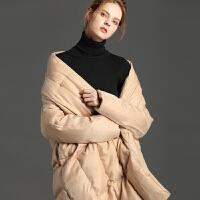 2018秋冬大被子宽松加厚大码羽绒服女斗篷型外套廓形超长款潮 X