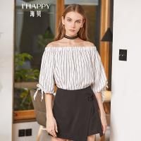 海贝2018春季新款女装上衣 甜美一字领中袖蝴蝶结系带条纹衬衫