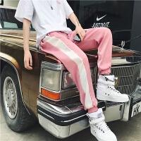 男士运动裤夏季新款韩版潮流侧边拼色男女款宽松直筒小脚九分裤子