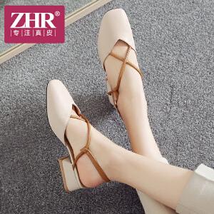 ZHR2018夏季新款韩版奶奶鞋中跟鞋子包头罗马凉鞋粗跟一字扣女鞋AF13