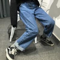 韩国ins超火的裤子女宽松韩版直筒长裤高腰显瘦毛边阔腿裤潮学生