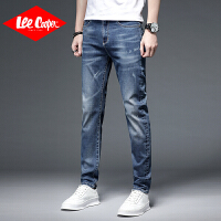 Lee Cooper男士薄款牛仔裤新款潮流百搭磨破长裤子舒适直筒弹力男牛仔裤