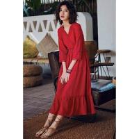 2018春夏季新款泰国巴厘岛海滩裙沙滩裙女夏海边度假修身显瘦镂空长裙复古红色连衣裙 红色