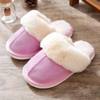 棉拖鞋女童冬季居家用保暖儿童室内防滑家居软底真皮毛绒亲子拖鞋