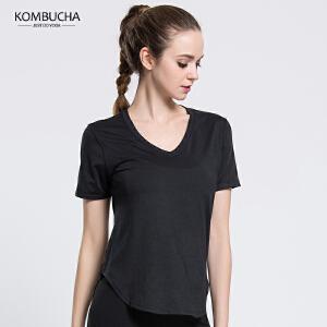【限时抢购价】Kombucha运动健身短袖T恤女士网眼镂空速干透气排汗V领短T运动跑步健身上衣K0080