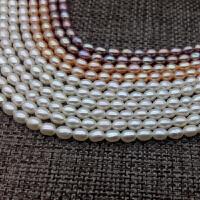 3-4mm小米粒型米形珍珠项链手链锁骨链DIY近乎无暇强光秀气送妈妈 3-3.5mm