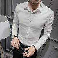 新款秋装长袖上衣男士白色衬衫韩版紧身英伦青年修身绅士打底休闲