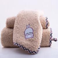 三利 朦朦兔 毛巾家纺 包边兔方毛浴巾礼盒三件套