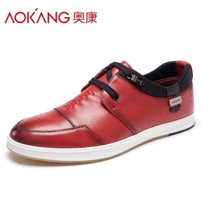 奥康男鞋新款潮流韩版平底板鞋 男士透气休闲鞋青少年皮鞋系带乐福鞋此款偏大一码 建议选择小一码