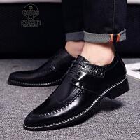 米乐猴 英伦风绅士商务休闲鞋正装皮鞋男时尚潮流男鞋子复古擦色尖头皮鞋