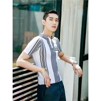 针织翻领英伦韩版polo衫 男装口袋拼接T恤 绅士短袖体恤潮