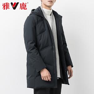 雅鹿羽绒服男中长款2019新款加厚连帽休闲大码中年男士冬季外套Y