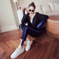新款休闲运动服套装女春秋季时尚韩版学生时髦女装气质两件套 黑色