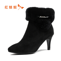 红蜻蜓女鞋正品休闲甜美短筒女靴子长绒雪地靴棉靴女